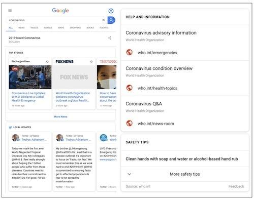 Google kích hoạt cảnh báo SOS về virus corona